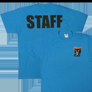 black cat staff shirt blue