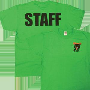 black cat staff shirt green