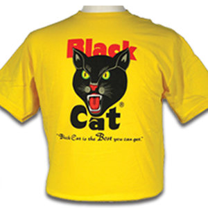 black cat yellow t-shirt