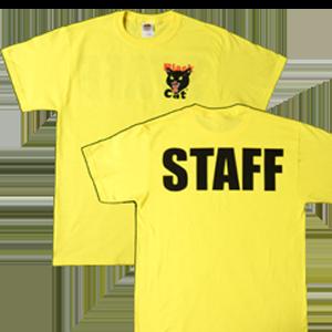black cat staff shirt yellow