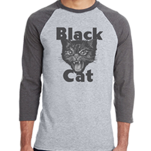 black cat baseball shirt