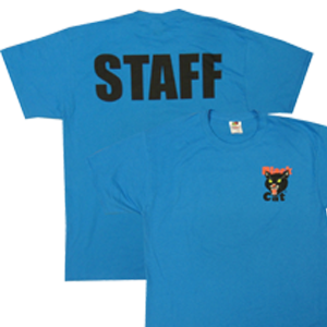 black cat staff shirt blue