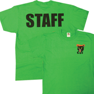 black cat staff shirt green