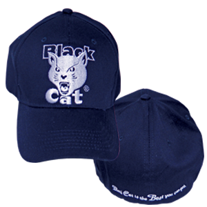 black cat navy fitted hat