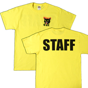 black cat staff shirt yellow